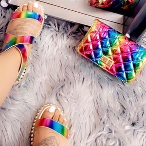 🌈 Rainbow Sandal & Bag Set